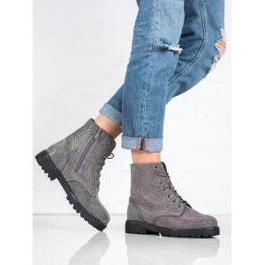 Zateplená dámská zimní obuv šedé barvy se šňůrkami