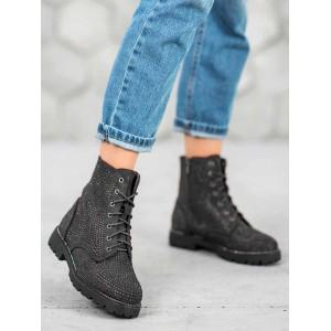 Černá zateplená kotníková obuv se zapínáním na zip a šňůrky
