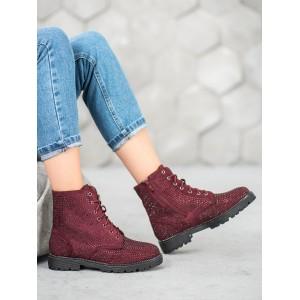 Dámské kotníkové boty vínové barvy s kamínky