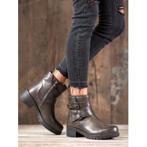 Tmavě šedé kotníkové boty na zimu s ozdobnými přezkami