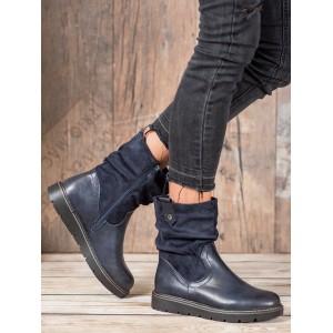 Tmavě modré kotníkové boty na platformě se zipem