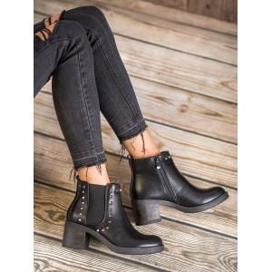 Elegantní kotníkové boty na hrubém podpatku s vybíjením