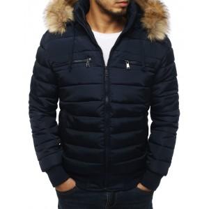 Pánská zimní bunda s kožešinou v modré barvě