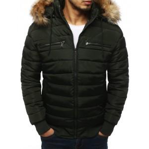 Pánská zimní bunda v tmavozelené barvě s kožešinou