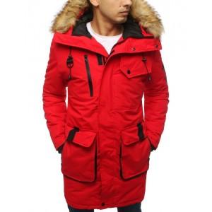 Pánská bunda v červené barvě s kapucí