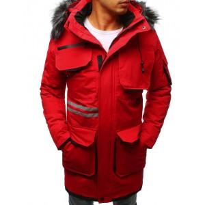 Pánská dlouhá bunda v červené barvě s kožešinou