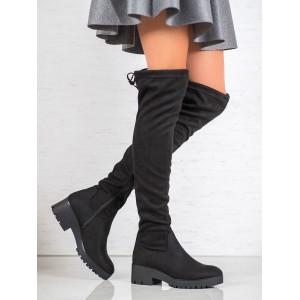 Moderní dámské kozačky nad kolena se zdrhovací šňůrkou a platformě