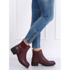 Vínové kotníkové boty na nízkém podpatku