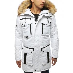 Bílá dlouhá pánská zimní bunda s kožešinou