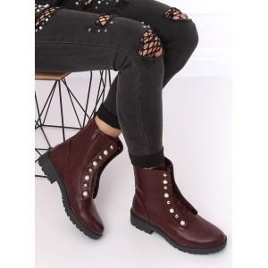 Dámské kotníkové boty v bordó barvě