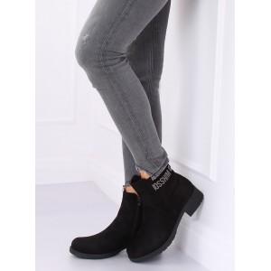 Dámské boty s aplikací v černé barvě