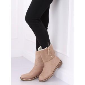 Zateplené dámské zimní boty v béžové barvě