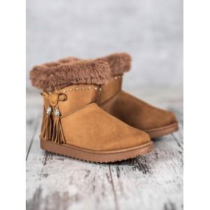 Dámská obuv s kožešinou v béžové barvě