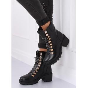 Dámské kotníkové boty na vázání v černé barvě