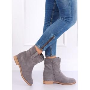 Boty v šedé barvě na zip pro dámy