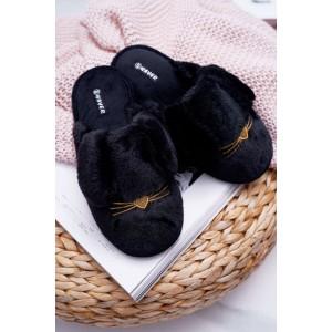 Černé pantofle s knírkem pro dámy