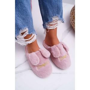 Dámské pantofle v růžové barvě se psími oušky