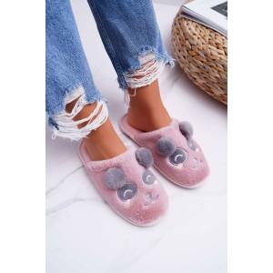 Pantofle se vzorem pandy v růžové barvě