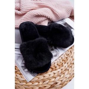 Chlupaté dámské pantofle v černé barvě