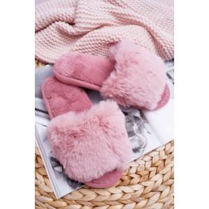 Chlupaté růžové dámské stylové pantofle