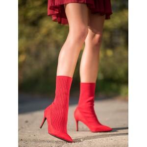 Dámské ponožkové boty v červené barvě