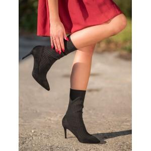 Ponožkové dámské kotníkové boty v černé barvě