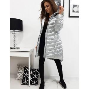 Stříbrná dámská zimní bunda s prošíváním