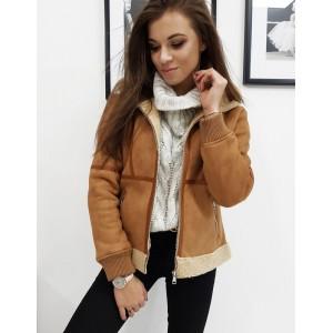 Dámská zateplená zimní bunda v hnědé barvě