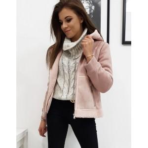 Dámská zimní bunda s kapucí v růžové barvě
