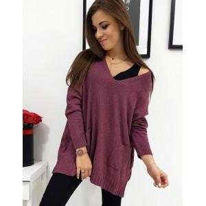 Levný dámský svetr v bordó barvě