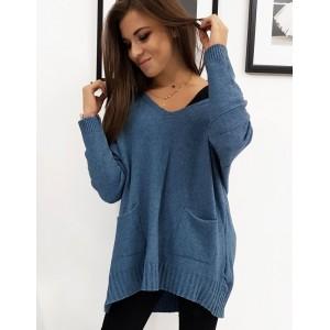Pohodlný dámský svetr v modré barvě
