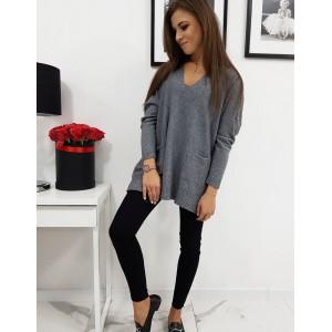 Tmavě šedý dámský svetr s dlouhým rukávem