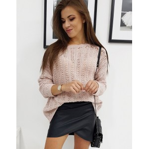 Pletený dámský svetr v růžové barvě