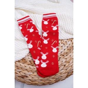 Červené dámské ponožky ve vánočním motivu