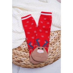 Dámské ponožky k vánocům s motivem soba