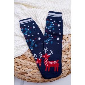 Modré dámské ponožky vánoční