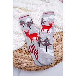 Šedé teplé ponožky s motivem soba