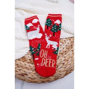 Dámské ponožky na vánoce v červené barvě
