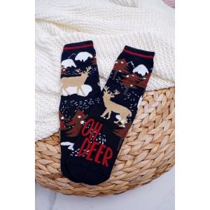Černé vánoční ponožky s motivem soba