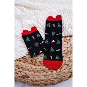 Černé ponožky s vánočním stromečkem