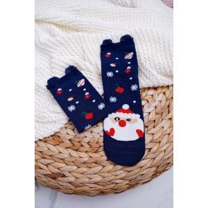 Ponožky v modré barvě s vánočním motivem