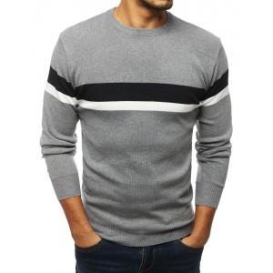 Stylový pánský svetr v šedé barvě s proužky