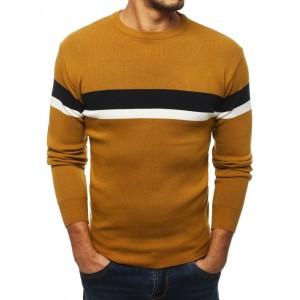 Levný pánský svetr na zimu ve žluté barvě