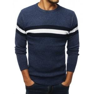 Modrý svetr pánský s proužky