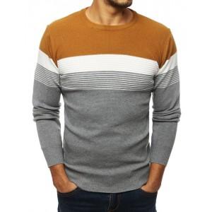Moderní pánský svetr v karamelové barvě