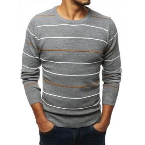 Pruhovaný šedý svetr pro pány