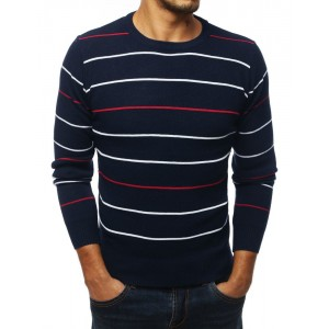 Moderní pánský svetr v modré barvě s proužky