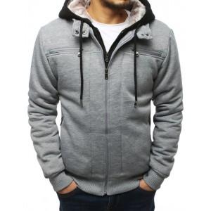 Stylová pánská přechodná bunda v šedé barvě