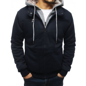 Modrá pánská přechodná bunda s kapucí
