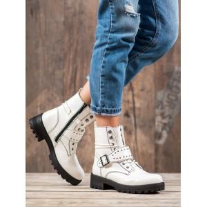 Bílé dámské kotníkové boty na vázání